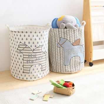 New Pegasus Dirty Barrel Folding Toy Storage Boxes Creative Laundry Box Clothes Basket Bra Necktie Socks Storage Organizer Bins