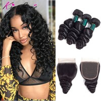 Brazilian Loose Wave Bundles With Closure Human Hair Bundles 4 Pcs/Lot Human Hair 3 Bundles With Lace Closure Hair Extension