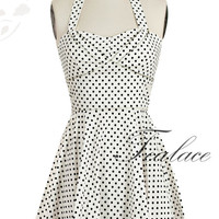 Vintage 1950's Inspired Polka Dot Halter  Dress in Beige