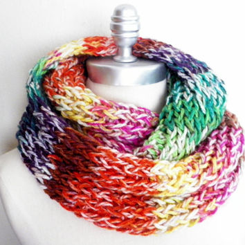 Colorful Knit Rainbow Stripes Infinity Scarf, Fall Scarf, Winter Scarf Loop Scarf, Mobius Scarf, Fashion Knitwear, Fall Essentials