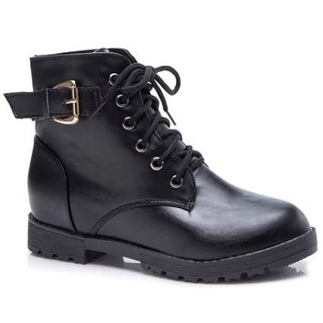 Flat Heel Buckle Design Boots With Lace-Up