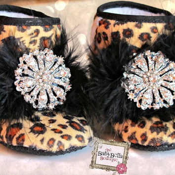 Leopard baby girl boots handcrafted with by TheBabyBellaBoutique