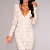 White Lace Deep V-neck Ruched Long Sleeve Mini Bodycon Dress