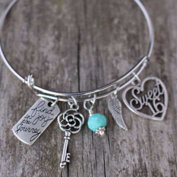 Sweet 16, Sweet 16 Gift, Sweet 16 Jewelry, Sweet 16 Bracelet, Find joy in the Journey, 16th Birthday Gift, Daughter Gift, Niece Gift, Bangle