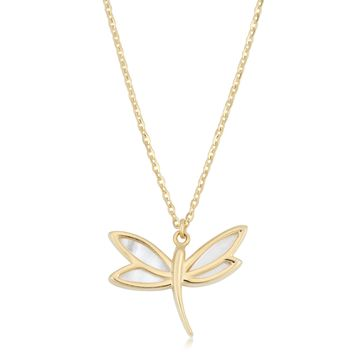 14K Yellow Gold Mother Of Pearl Dragonfly Pendant Necklace, 18""