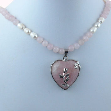 Pink Quartz Pearl Rose Heart Handmade Gemstone Pendant Necklace