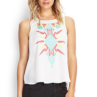 FOREVER 21 Embroidered Woven Tank Red/Teal