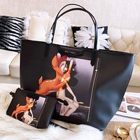 Givenchy Fashion New Deer Print Two Piece Suit Leather Women Shoulder Bag Handbag Black