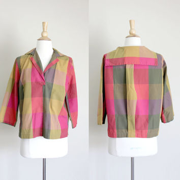 1960s Plaid Sailor Blouse by Lombardi of Hartford // Medium Large