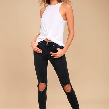 Free People High Rise Busted Black Distressed Skinny Jeans