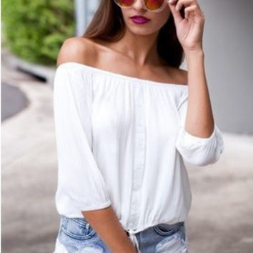 Strapless Mini Chiffon Tops T-shirts [6339026881]