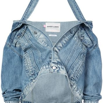 Sandy Liang Halter Strap Denim Jacket
