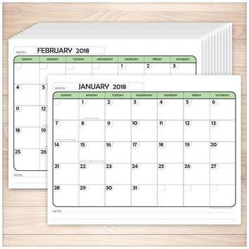 Modern Green 2018 Calendar pages - Printable