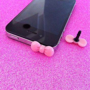Pink Bow Ear Jack Plug for iPhones by JMxSweets on Etsy