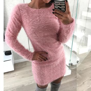 Furry Knitted Sweater Long Sleeve Dress