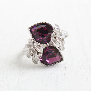Vintage Purple Stone Heart Ring -  Retro Signed Sarah Coventry 1970s Silver Tone Adjustable Rhinestone Costume Jewelry