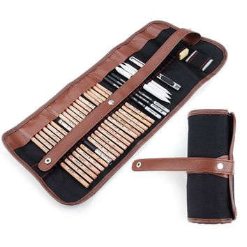 29 Pieces Professional Sketch & Drawing Art Tool Kit With Graphite Pencils, Charcoal Pencils, Paper Erasable Pen, Craft Knife