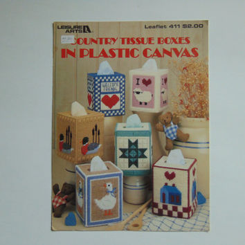 Country Tissue Boxes in Plastic Canvas Leisure Arts 411