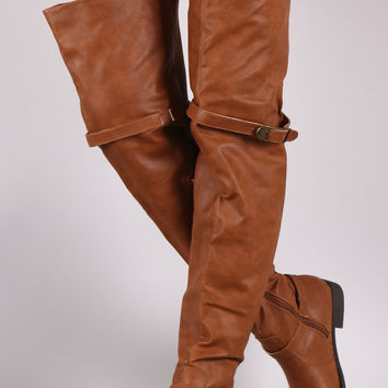 Wide Width Crinkled Leather OTK Boots