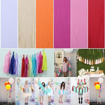 Wedding Decoration 5Pcs/pack Tissue Paper Tassels DIY Garland Ribbon Balloons Birthday Curtain Marriage Party Props Background