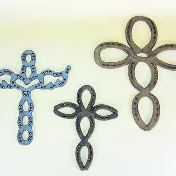 3 pc Western Wall Crosses Cast Iron Horseshoes Southwestern Christian Gift Large