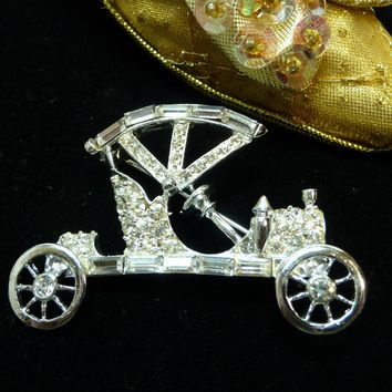 Model T Jalopy Car Brooch - Designer Signed Pell - Vintage Clear Rhinestone Brooch in Silver Tone - Automobile Transportation Jewelry