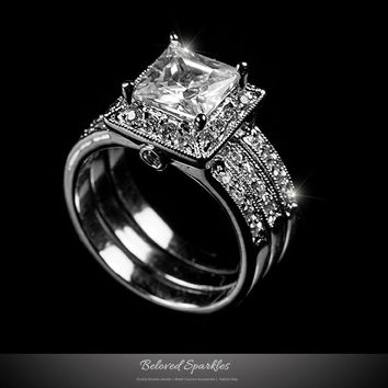 Theodra Princess Cut Engagement and Wedding Ring Set | 4.5 Carat | Cubic Zirconia