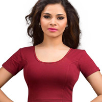 Maroon Cotton Lycra Stretchable Saree Blouse SNT-A-14-SL
