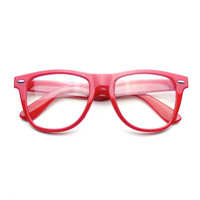 Retro Color Nerd Frame Clear Lens Wayfarer Glasses