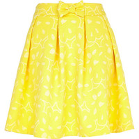 River Island Womens Yellow abstract print skater skirt
