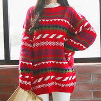 Red Christmas Pattern Loose Sweater