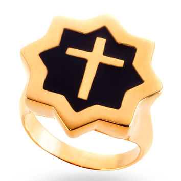 Gold & Black Abraham Cross Ring