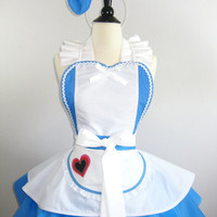 Alice in Wonderland Inspired Apron with matching headband bow