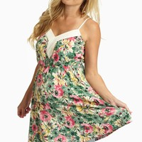 Green Multi-Colored Floral Maternity Tank Top