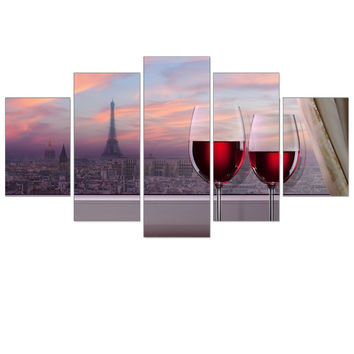 Frameless Canvas Painting Red Wine Tipsy City Landscape Art Print Wall Oil Picture Home Decoration Poster for Room Decor 5pcs