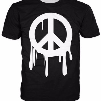 Drippy Peace Sign All-Over Print Sublimated Black and White T-Shirt