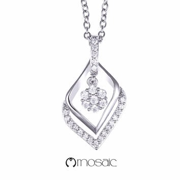 Fine Silver Elegant Rhombus with Flower Drop Necklace