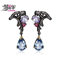 DreamCarnival 1989 Purple Blue CZ Earring for Women Dangle Luxury Vintage Bijoux Pendientes Borla Bruiloft Oorbellen Moda Brinco