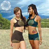 Capella Crop Top: Racer-Back Sport Bra Top. Flower of Life Screen Print. Sacred Geometry. Hot Yoga. Burning Man Festival.