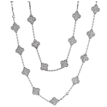 Van Cleef & Arpels Diamond Gold Alhambra Necklace and Bracelet