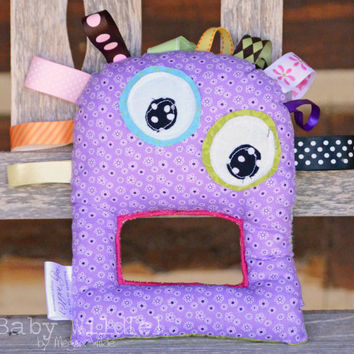 Monster Baby Toy Sensory Ribbon Taggie Crinkle READY TO SHIP Purple People Eater - Midge the Monster