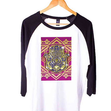 Evil eye hamsa Short Sleeve Raglan - White Red - White Blue - White Black XS, S, M, L, XL, AND 2XL*AD*