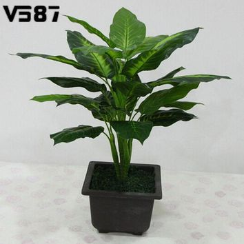 CREYHY3 Large 50CM Evergreen Artificial Plant 25 Leaves Lifelike Bush Potted Plants Plastic Green Tree Home Garden Office Decoration