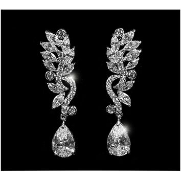 Sandra Marquise Cluster Linear Chandelier Earrings | 10ct | Cubic Zirconia | Silver