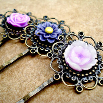 Set of 3 Vintage Style Bronze Filigree and Purple Flower Bobby Pins - Dark and Light Purple Roses and Daisy - Antique Bronze Flower Hair Pin
