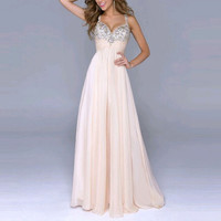 Sexy Women Party Dress Sleeveless Sequin Prom Ball  Formal Gown Long Dress Hot