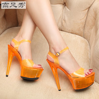summer multicolor 15cm nightclub sexy ultra high heels shoes waterproof sandals with fluorescent fine crystal shoes