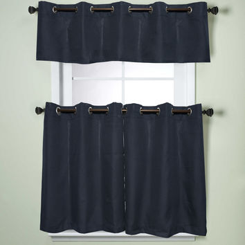 Modern Sublte Textured Solid Navy Blue Kitchen Curtains With Grommets Tiers | Overstock.com Shopping - The Best Deals on Curtain Tiers