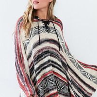 Ecote Printed Hoodie Poncho Sweater | Urban Outfitters