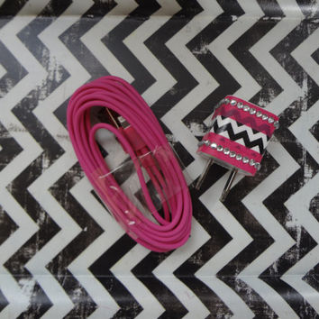 New Super Cute Jeweled Hot Pink/White/Black Chevron Designed Wall iphone 5/5s Charger + 10ft Hot Pink Cable Cord Super Long